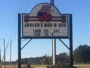 Sign outside of Shuler's BBQ in Latta, SC