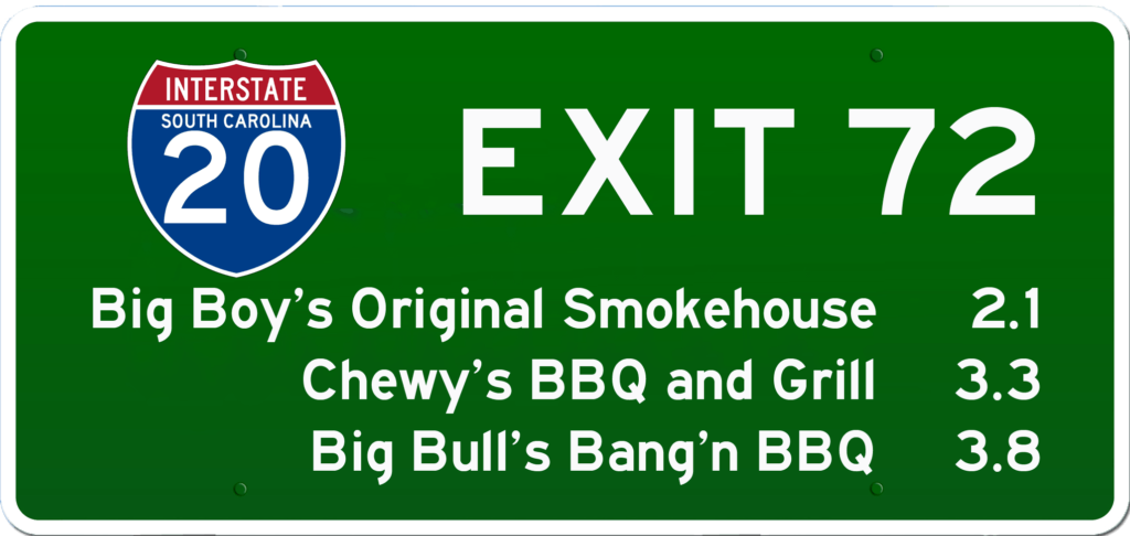 SC BBQ on I-20 at Exit 72